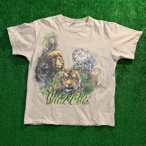 Vintage Wild Animal Cats Single Stitch T Shirt